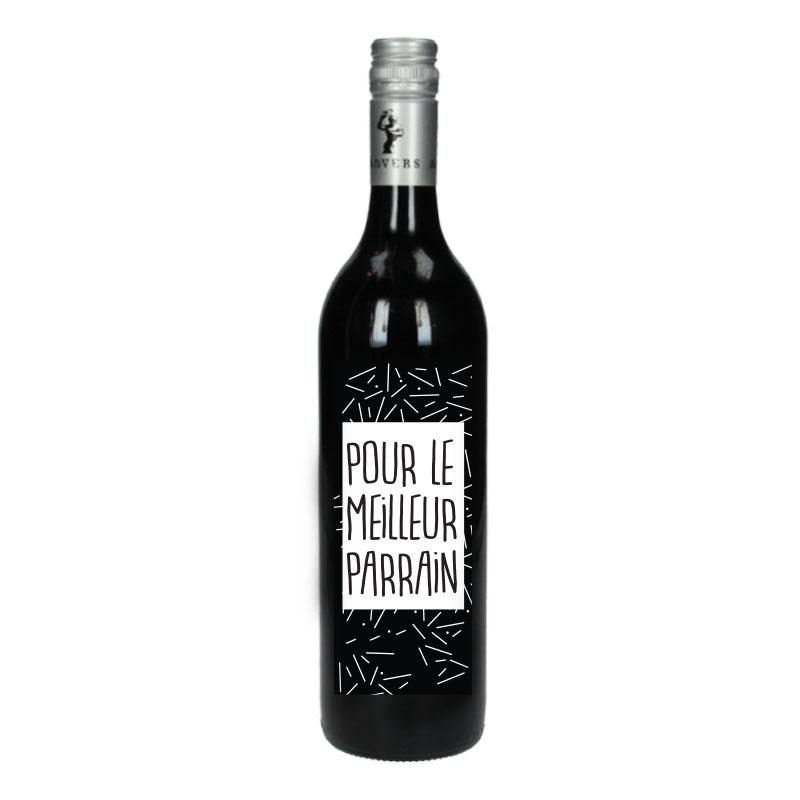 Bouteille de vin Rouge avec étiquette -  Pour le meilleur parrain (points)