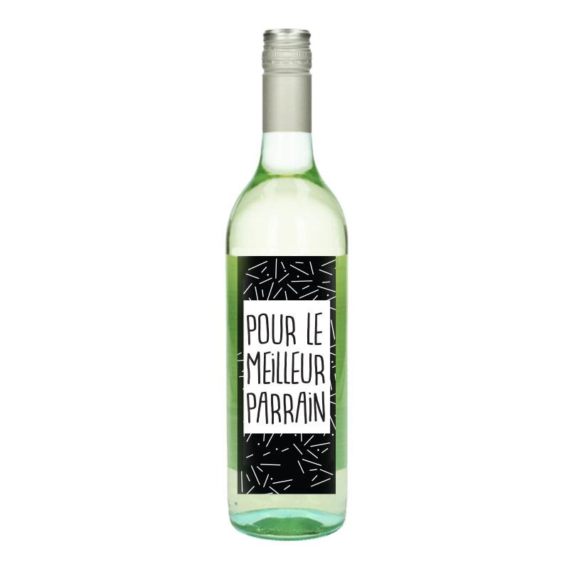 Bouteille de vin Blanc avec étiquette -  Pour le meilleur parrain (Points)