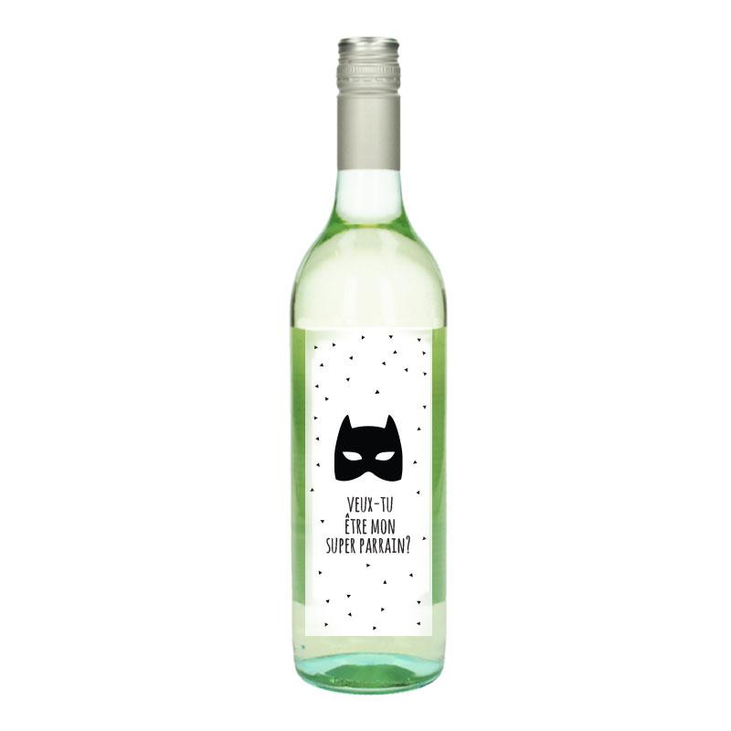 Bouteille de vin Blanc avec étiquette -  Veux-tu être mon super  parrain (Masque)