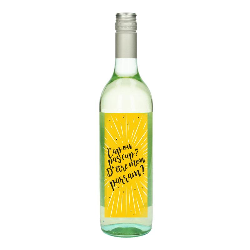 Bouteille de vin Blanc avec étiquette -  Cap ou pas cap? D'être mon parrain (Jaune)