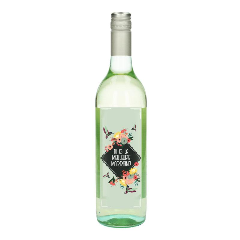 Bouteille de vin Blanc avec étiquette - Tu es la meilleure marraine (Retro)