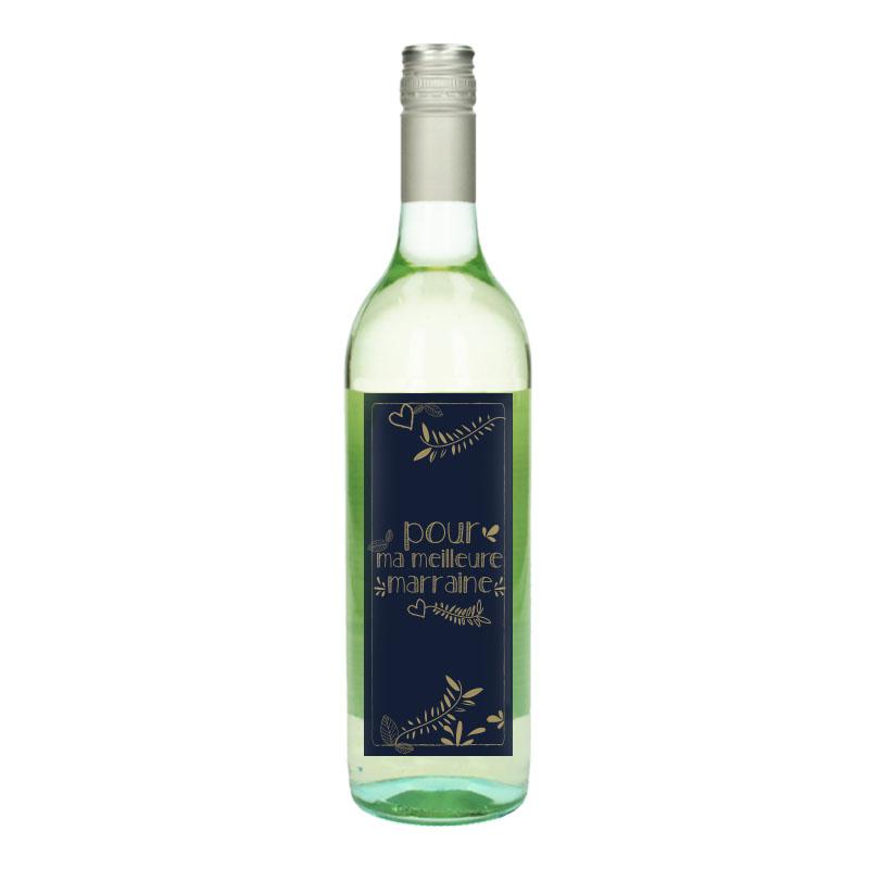 Bouteille de vin Blanc avec étiquette -  Pour ma meilleure marraine ( Or)