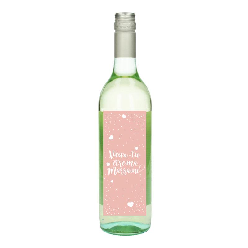 Bouteille de vin Blanc avec étiquette -  Veux-tu être ma marraine (Rose Coeur)