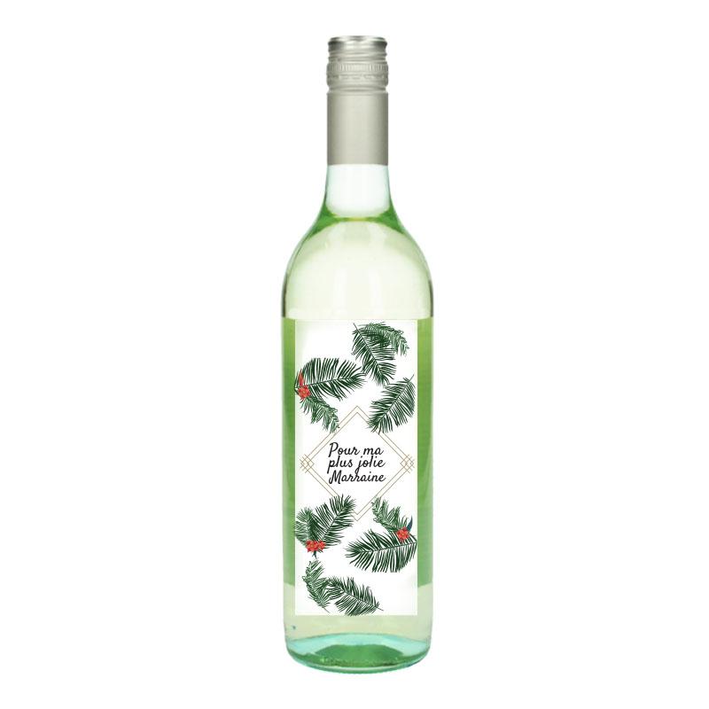 Bouteille de vin Blanc avec étiquette -  Pour ma plus jolie marraine (Fleurs Tropicale)