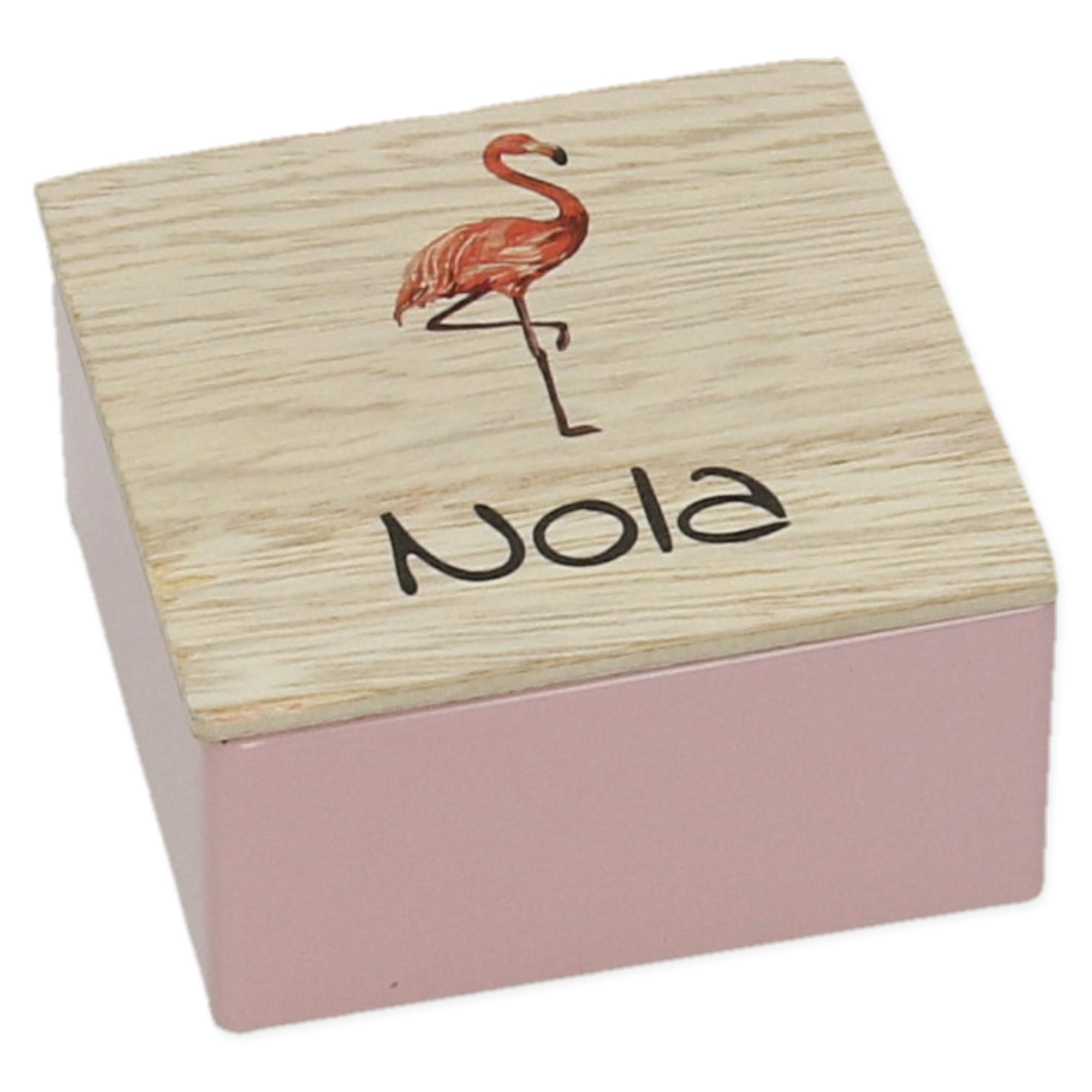 Vierkant potje in metaal met houten deksel met print - set van 5
