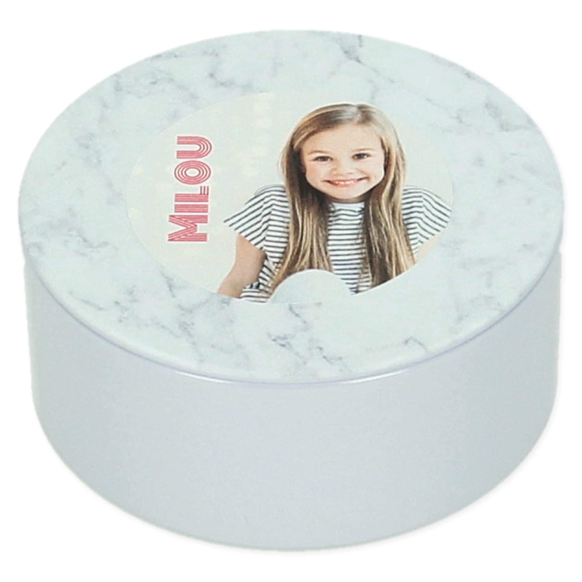 Boîte metal ronde avec couvercle en marbre - 5 pièces