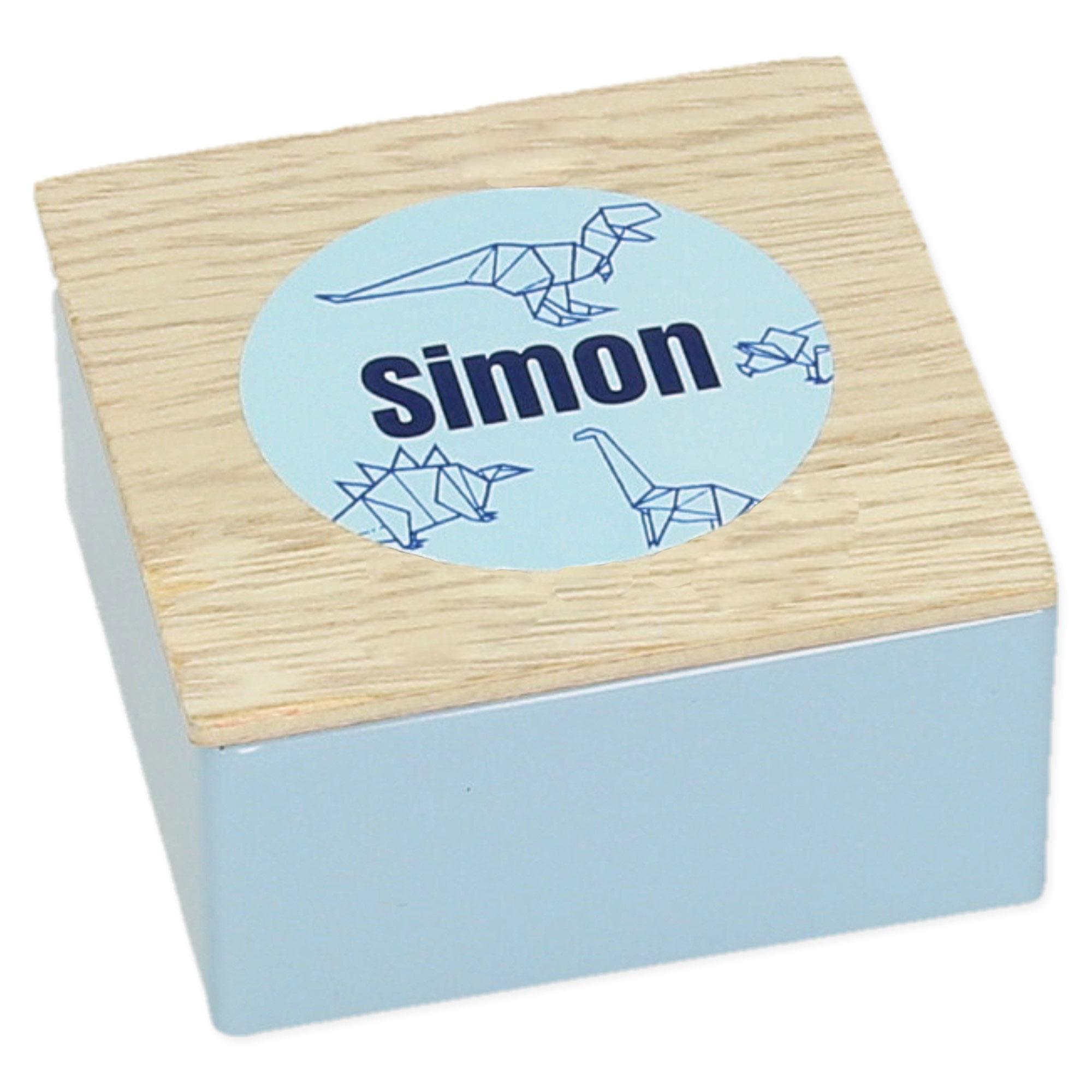 Vierkant potje in metaal met houten deksel met label- set van 5