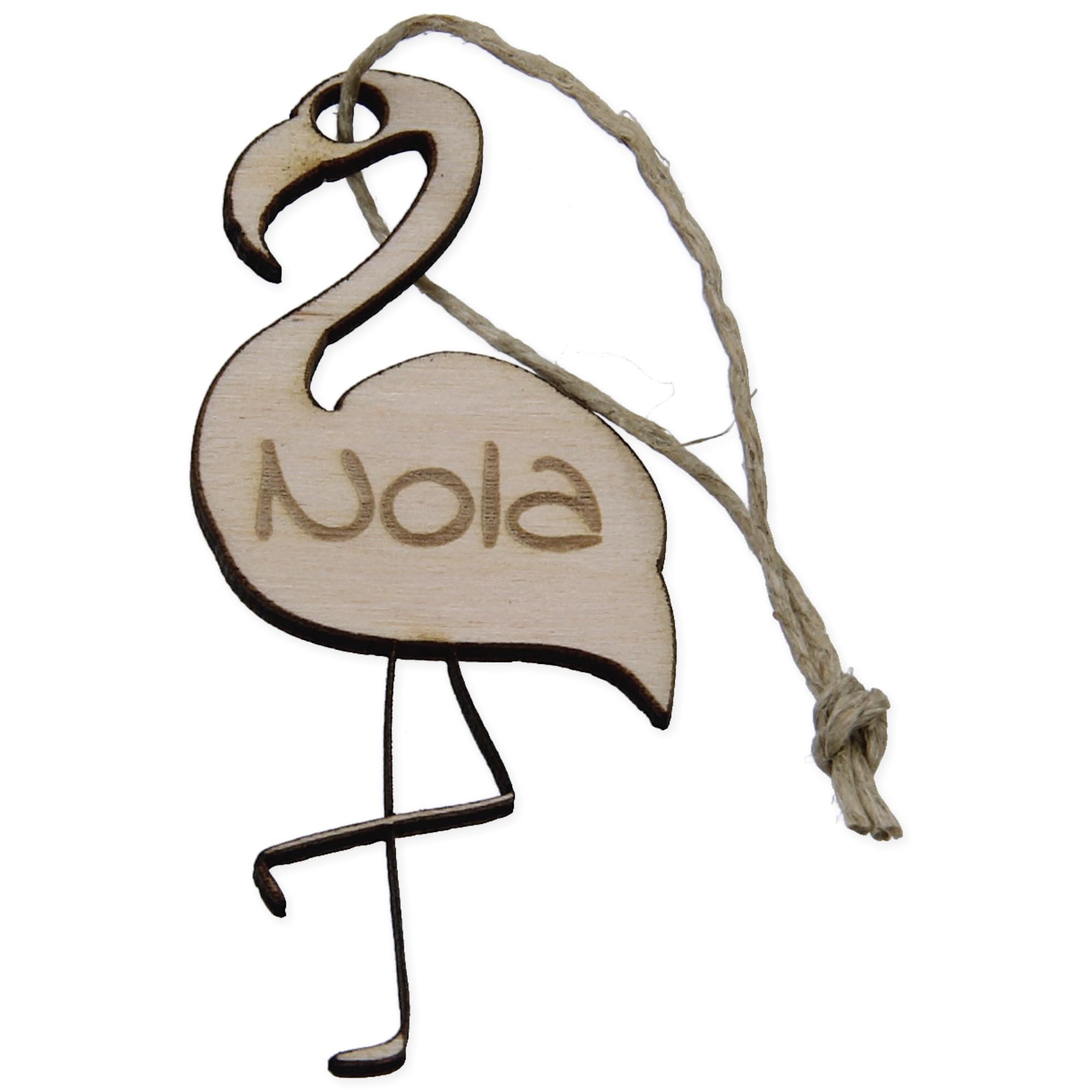 Houten hanger met naam Flamingo - set van 5