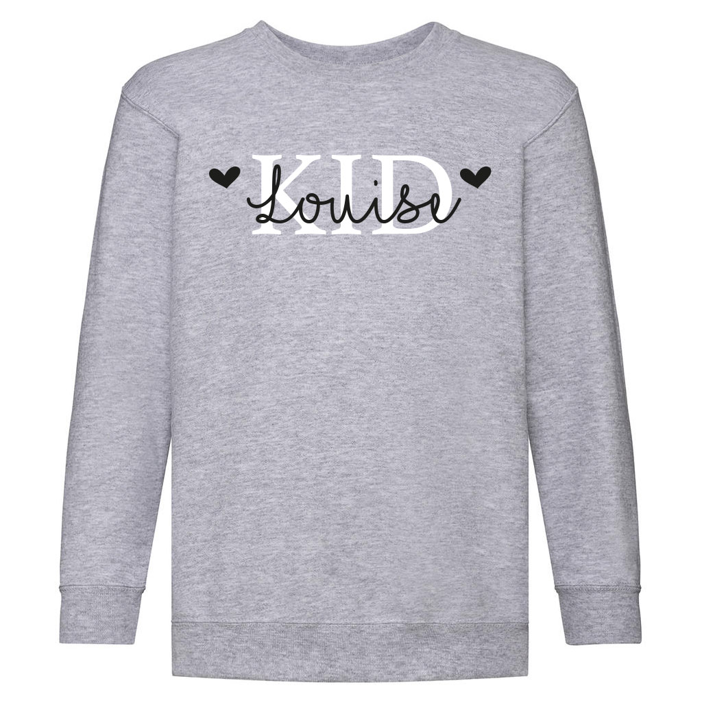Kid sweater met naam - Ash Grey