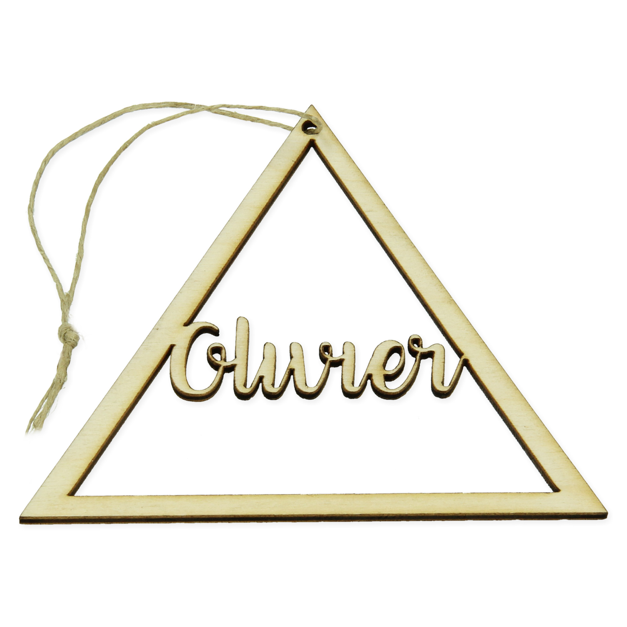 Houten hanger met naam - Driehoek