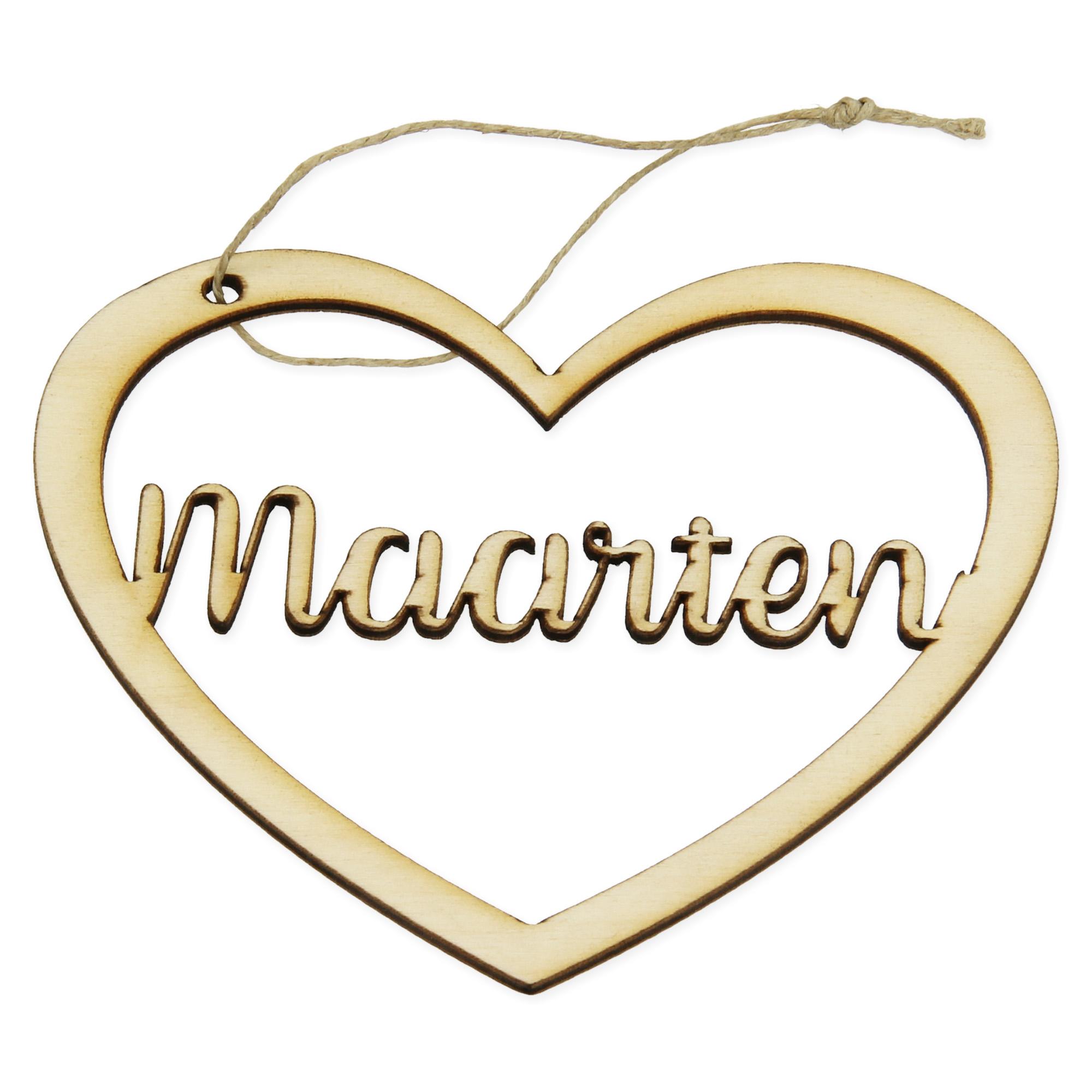 Houten hanger met naam - Hart