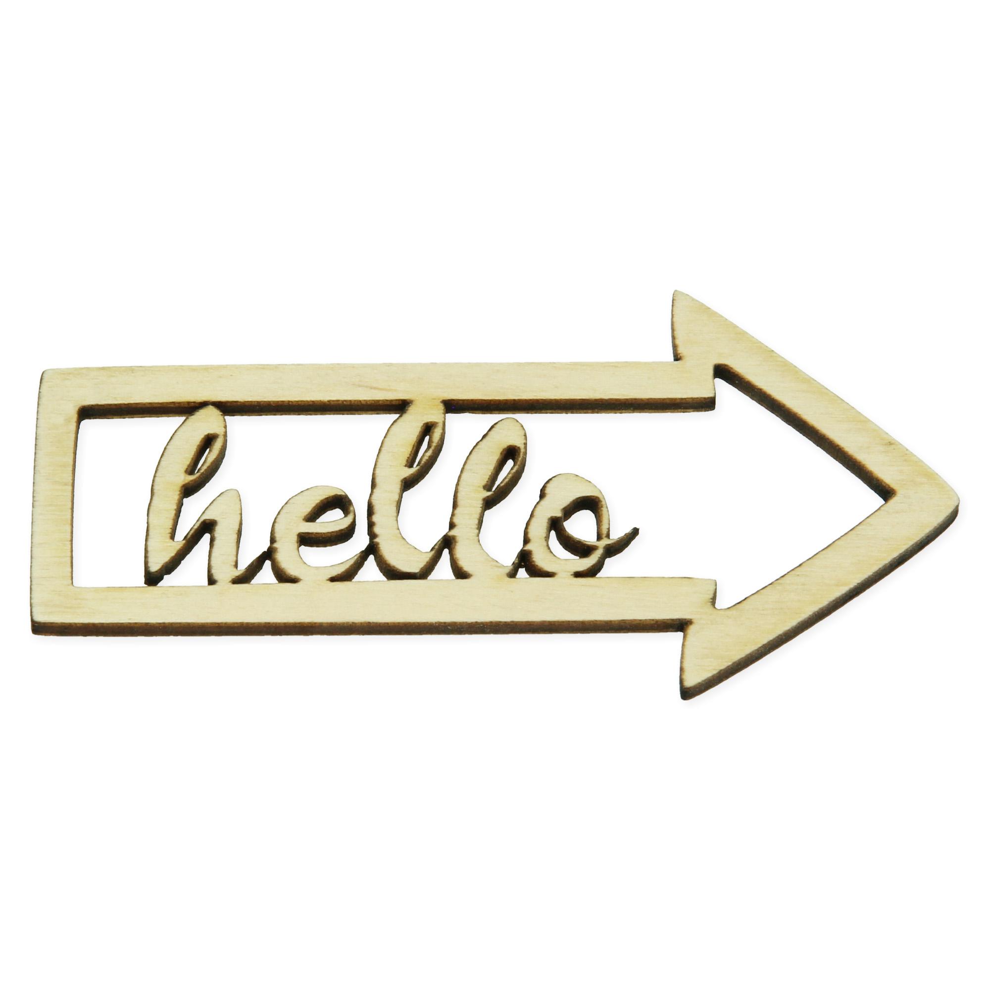 Houten figuur pijl - hello