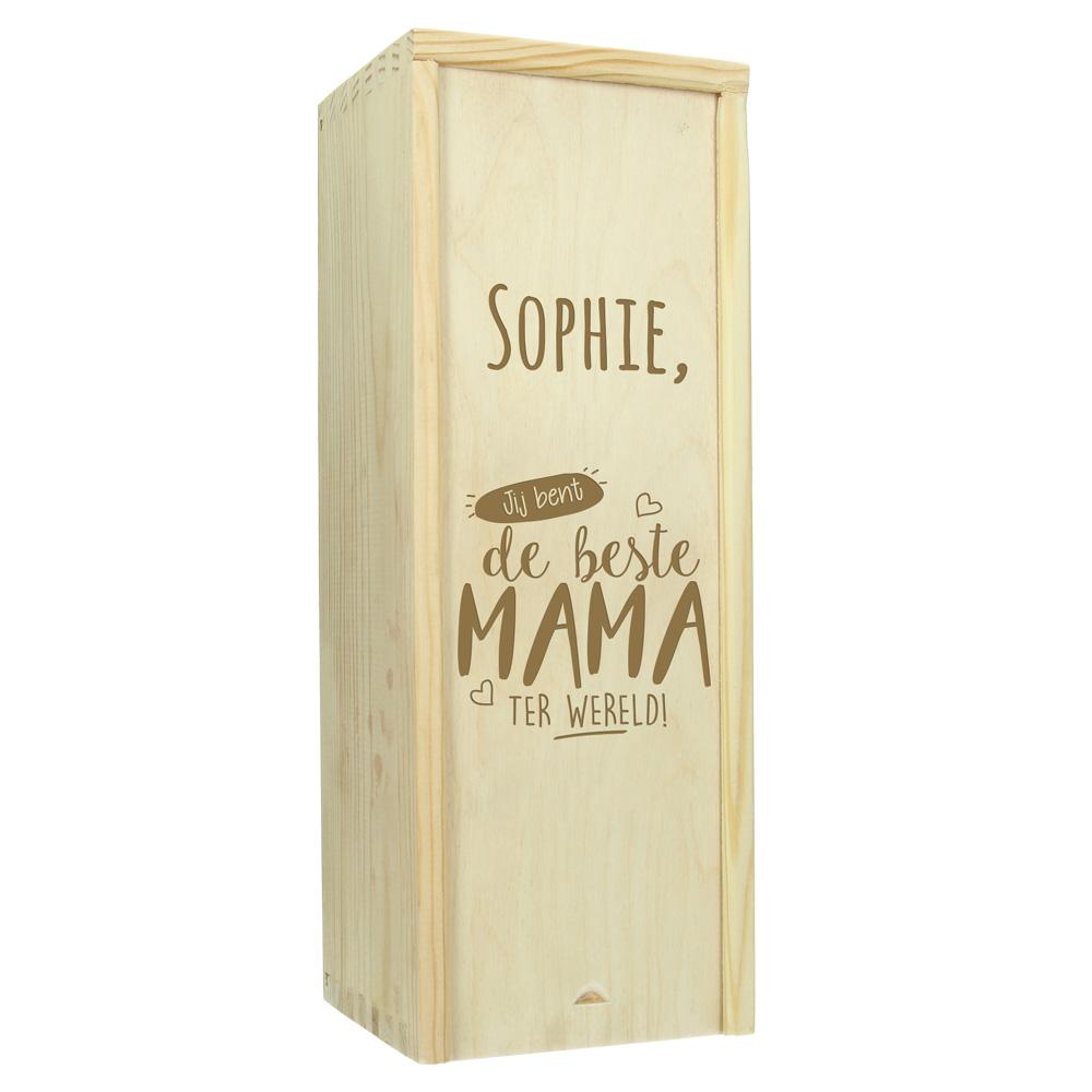 Moederdag kist gegraveerd met naam of tekst (1 fles)