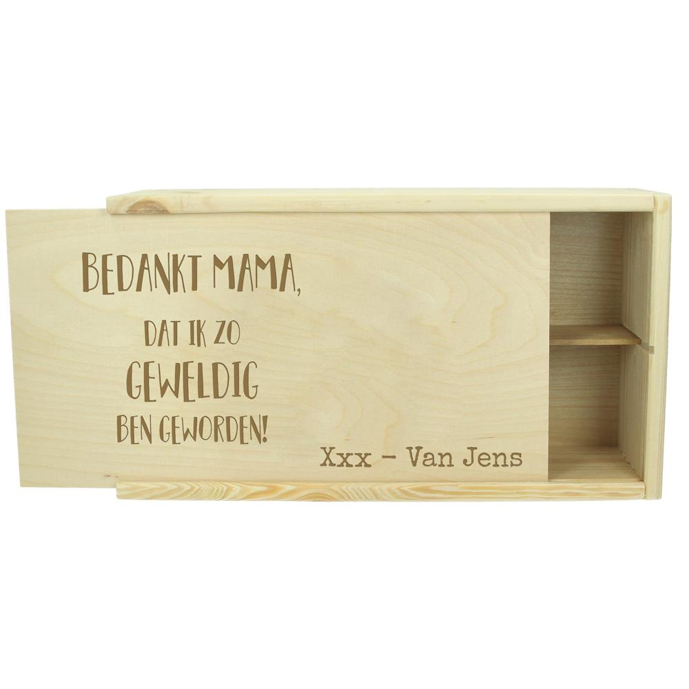 Moederdag kist gegraveerd met naam of tekst (2 flessen)