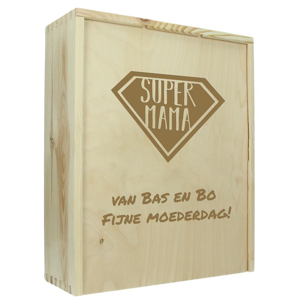 Moederdag kist gegraveerd met naam of tekst (3 flessen)