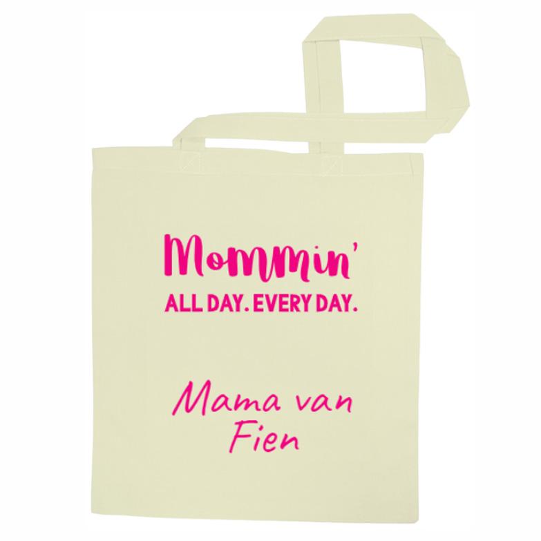Stoffen moederdag  tas met naam