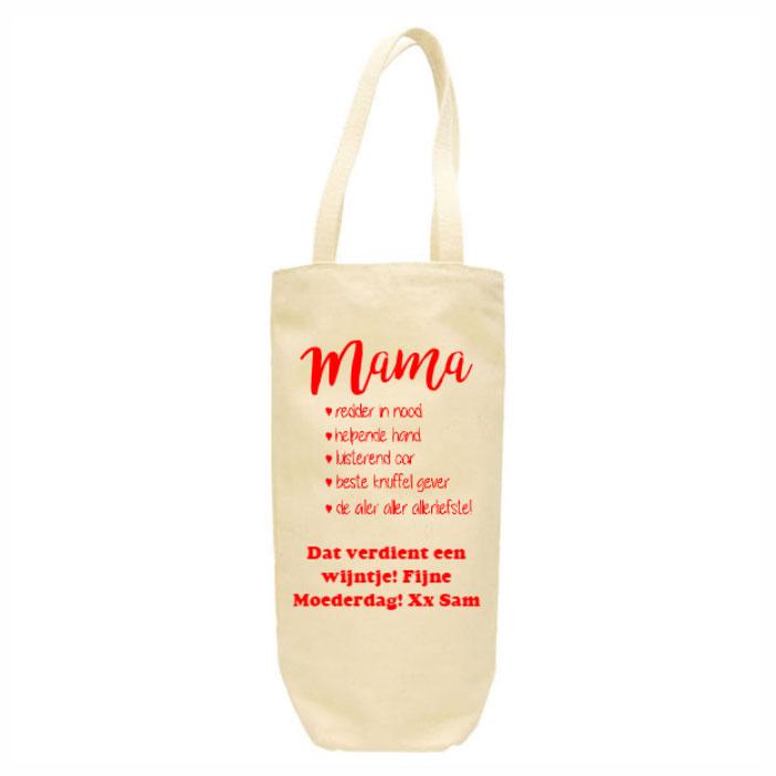 Sac à vin en toile fête des mères avec nom et image