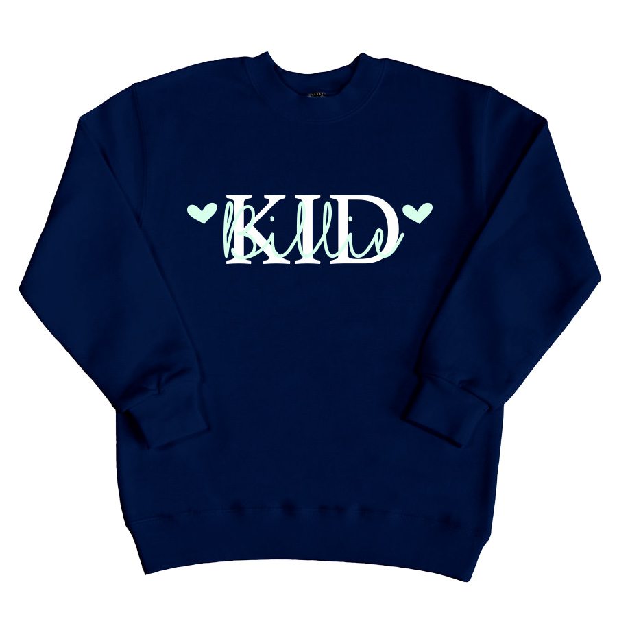 Kid sweater met naam - Navy