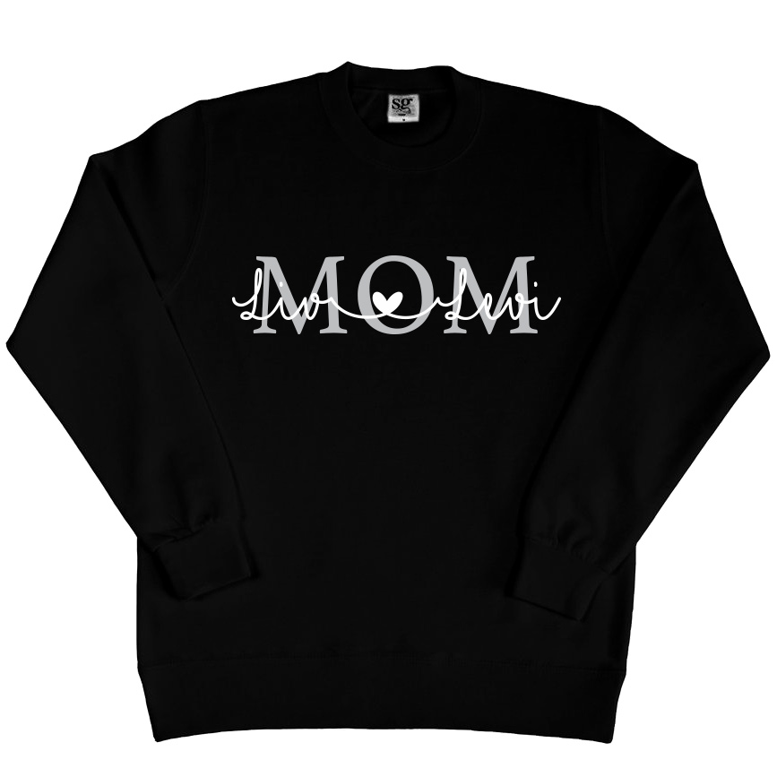 Mom sweater met namen - Zwart