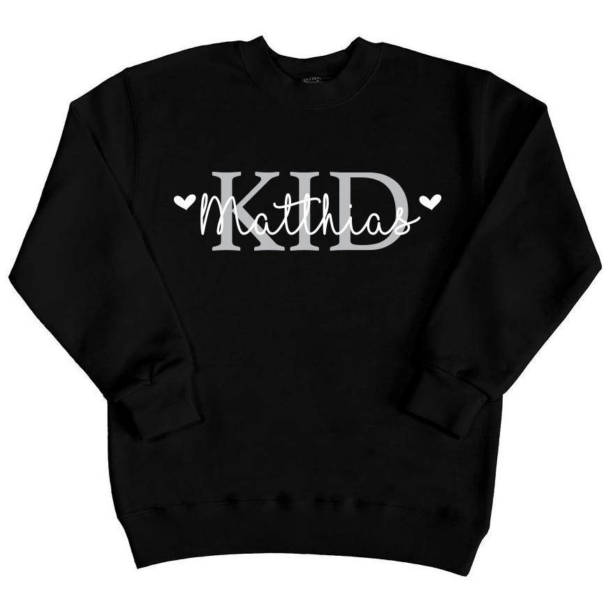 Kid sweater met naam - Zwart
