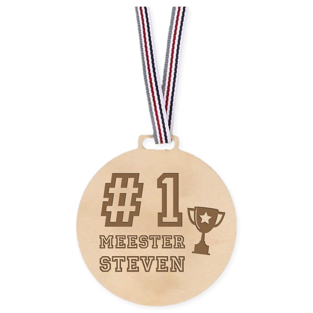 Houten Medaille - Number 1 Meester