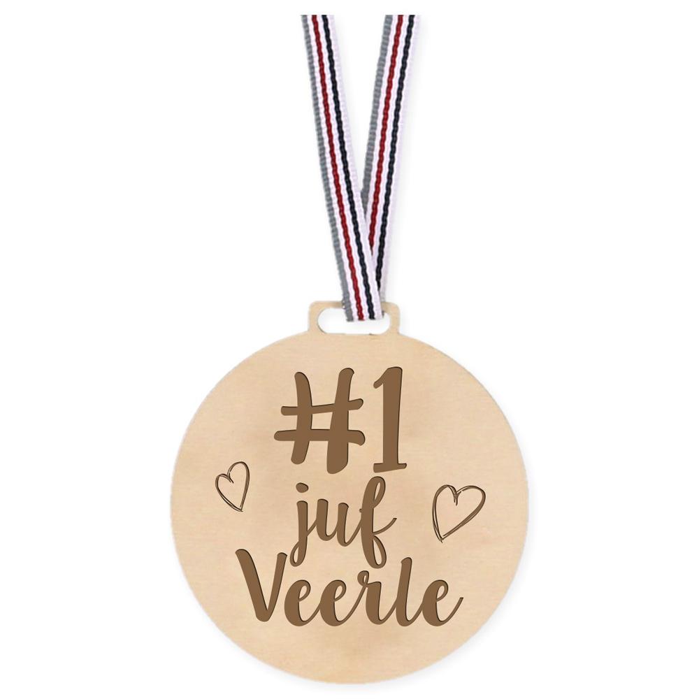 Houten Medaille - Number 1 Juf