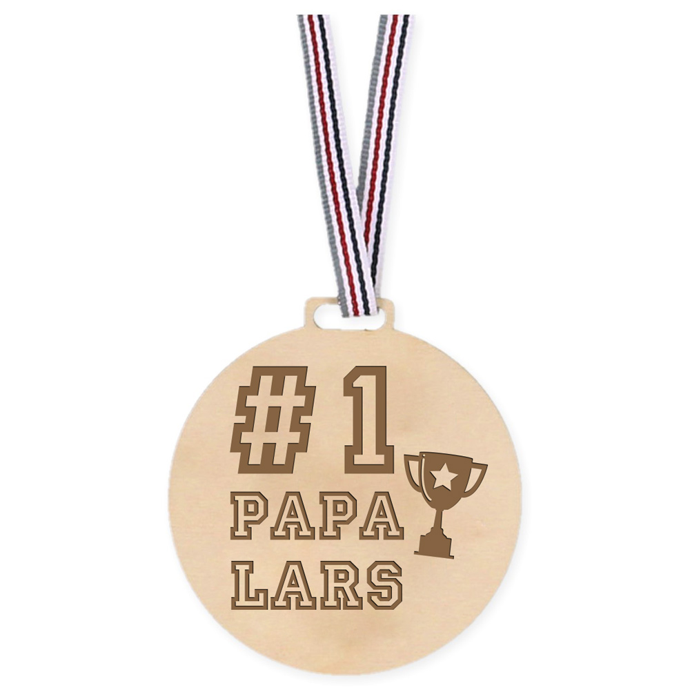 Houten Medaille - Number 1 Papa