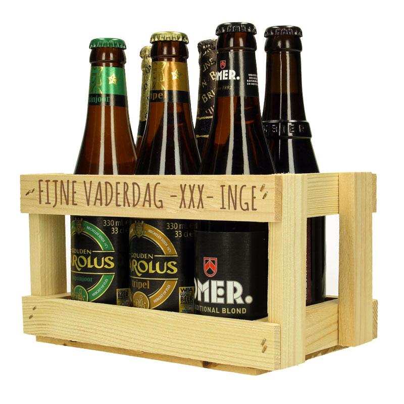 Porte-bouteille en bois, bouteilles de bière comprises