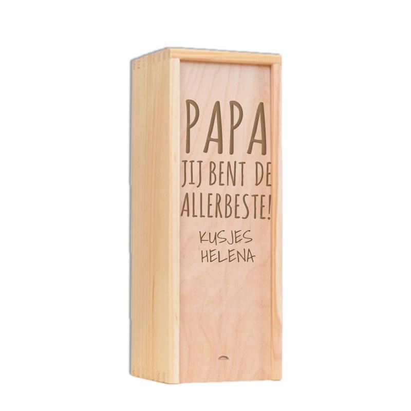 Vaderdag kist gegraveerd met naam of tekst (1 fles)