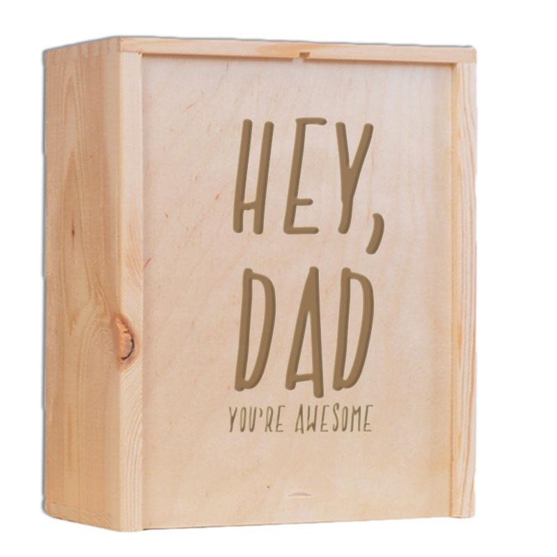 Vaderdag kist gegraveerd met naam of tekst (3 flessen)