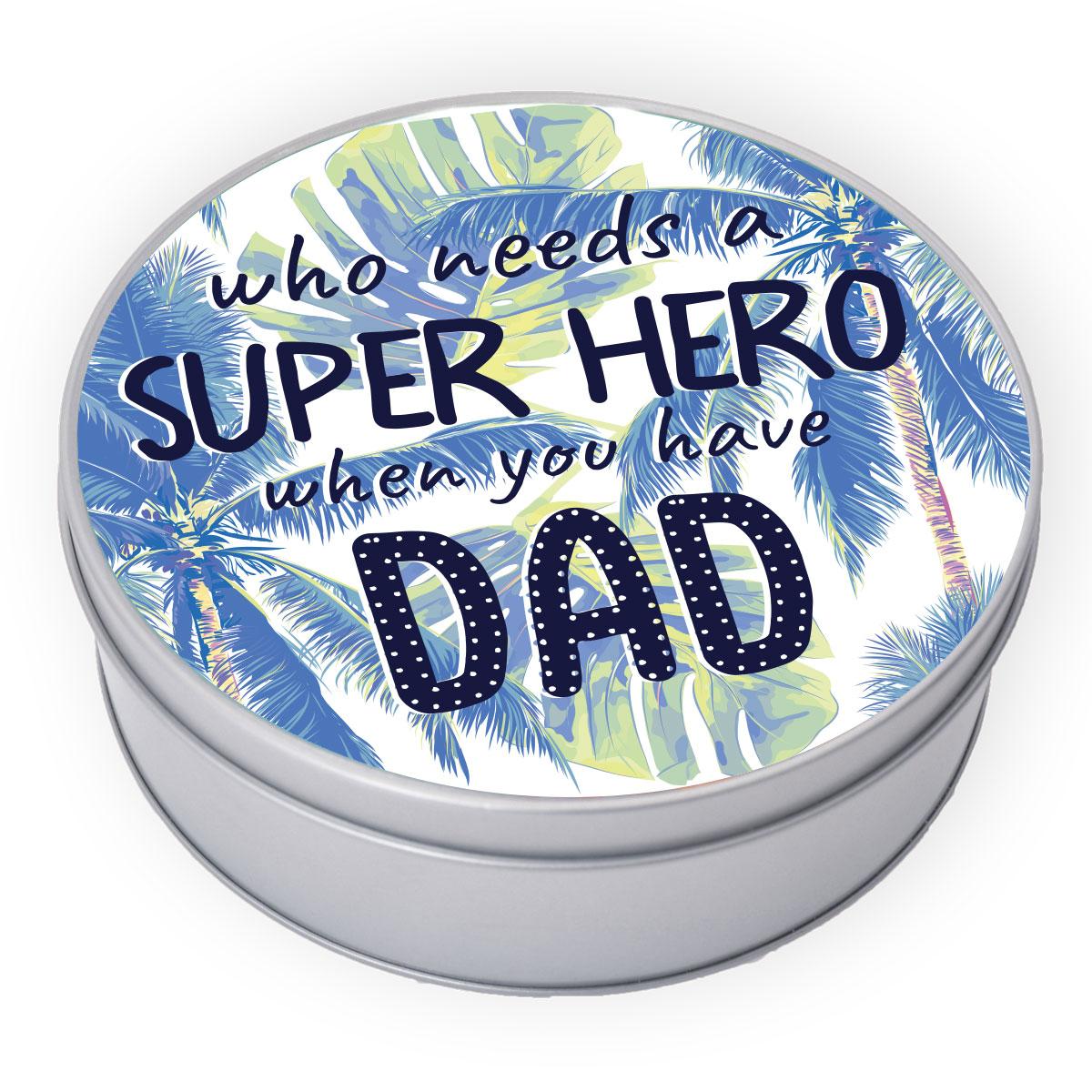 Blikken vaderdag cadeau doos - gepersonaliseerde koekjestrommel rond