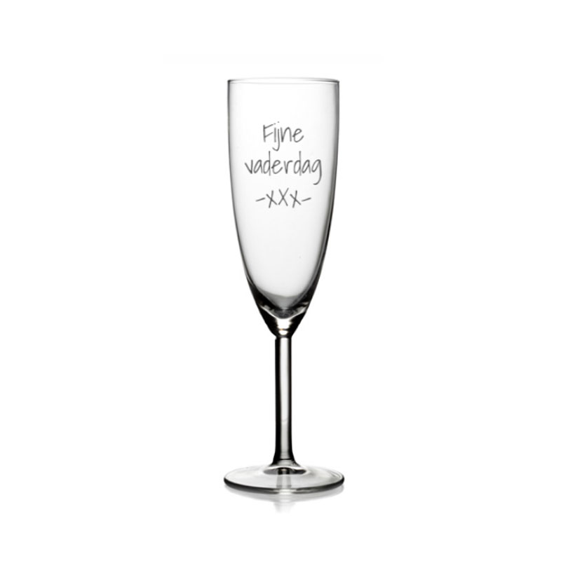 Champagneglas met eigen tekst of naam