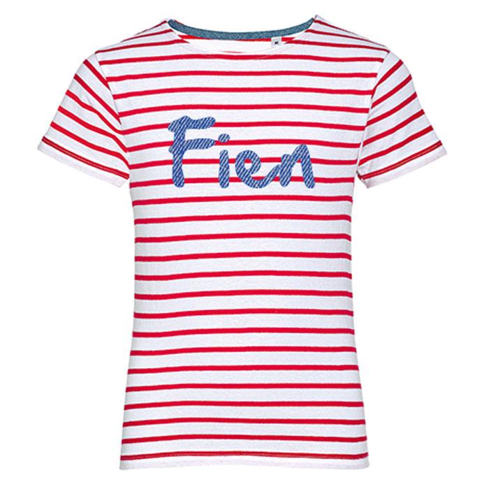 T-shirt Enfant Rayures avec nom - Rouge / blanc
