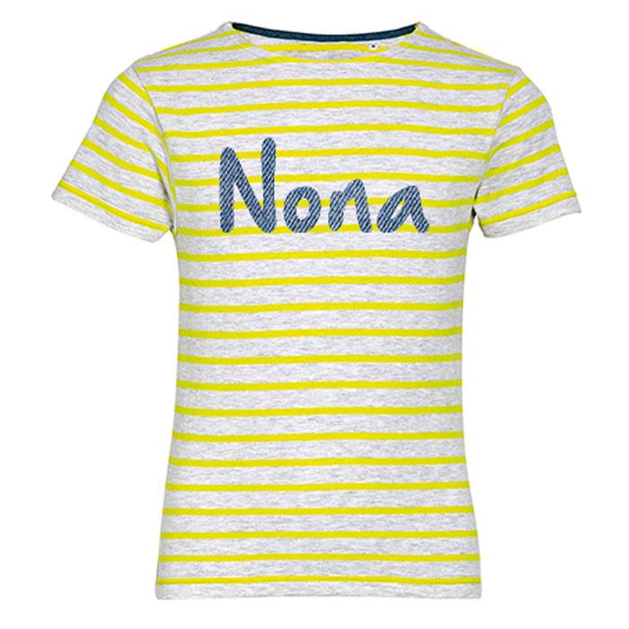 T-shirt Kids Stripes met naam - Geel/Ashgrijs
