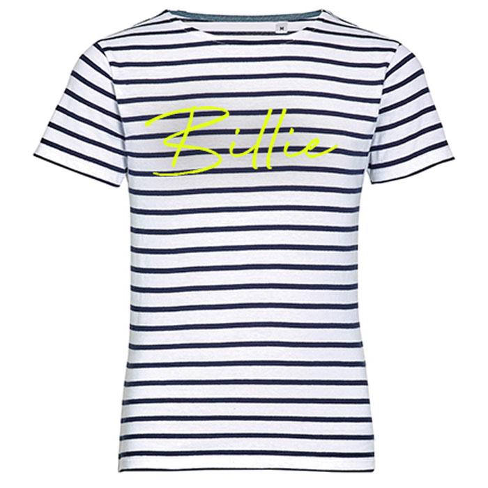 T-shirt Kids Stripes met naam - Blauw/Wit