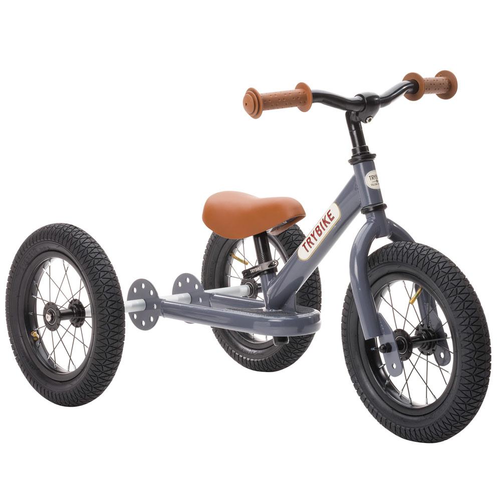 Trybike Steel balance bike 2 en 1 gris