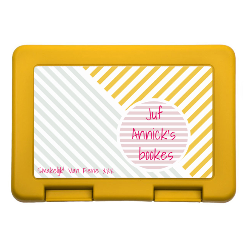Juf/Meester Lunchbox met naam en foto (6 sneden brood)