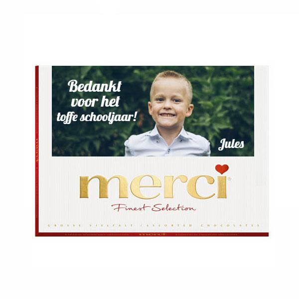 Juf/Meester Merci assortiment met jouw eigen tekst en foto