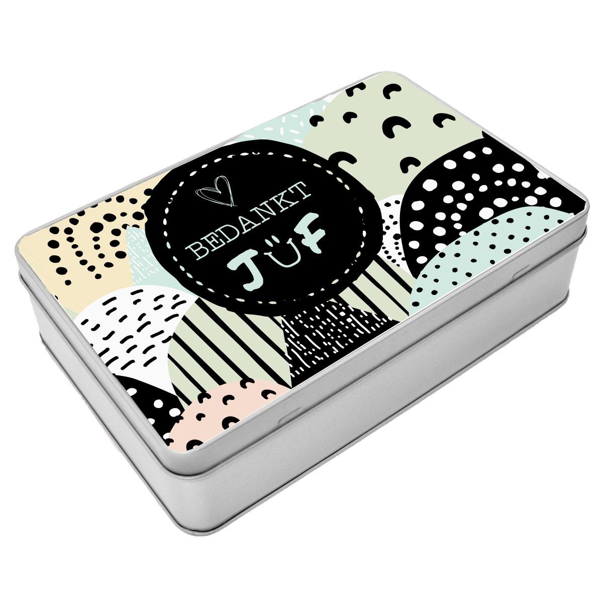 Juf/Meester Blikken cadeau doos - Gepersonaliseerde koekjestrommel rechthoek