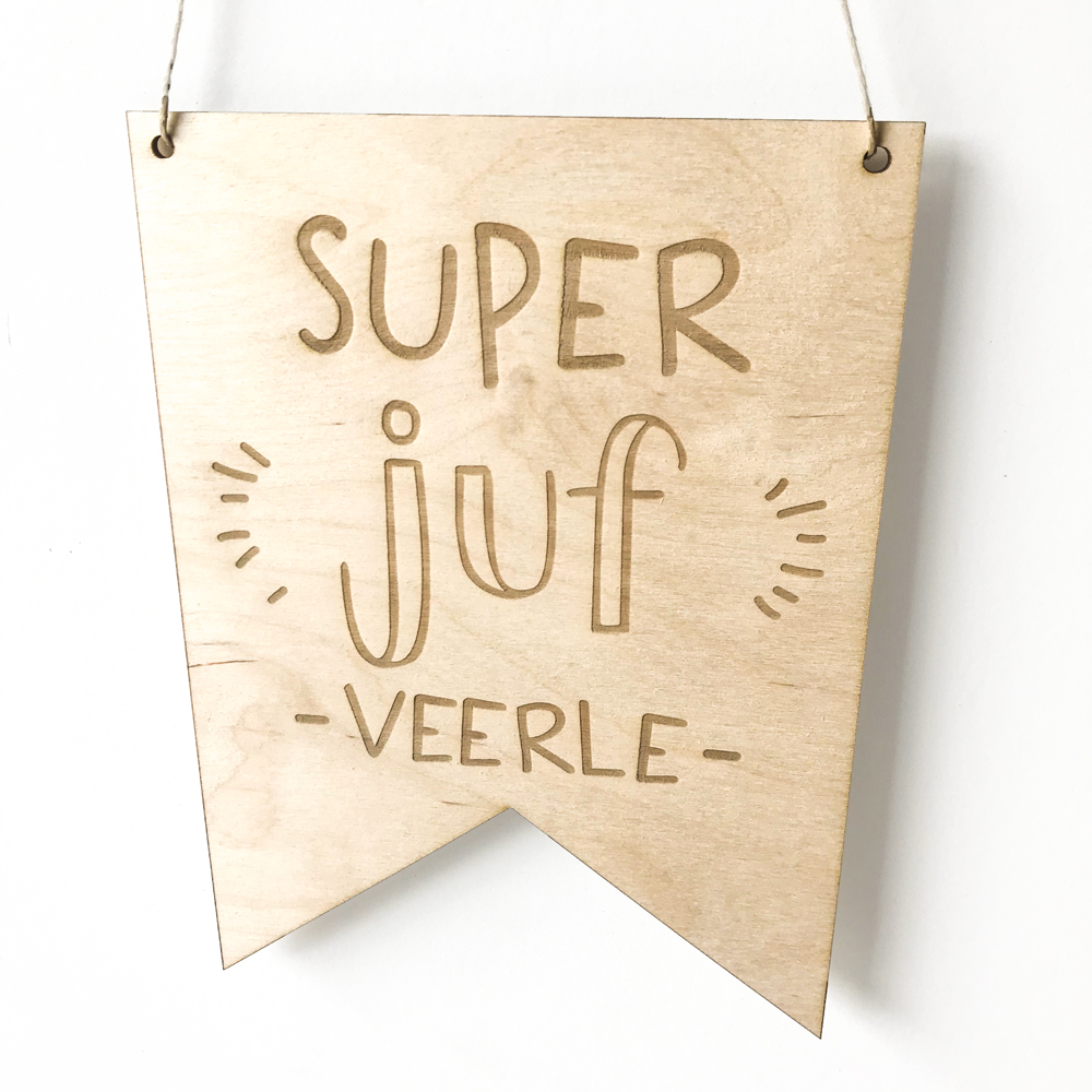 Houten banner met naam - Super Juf