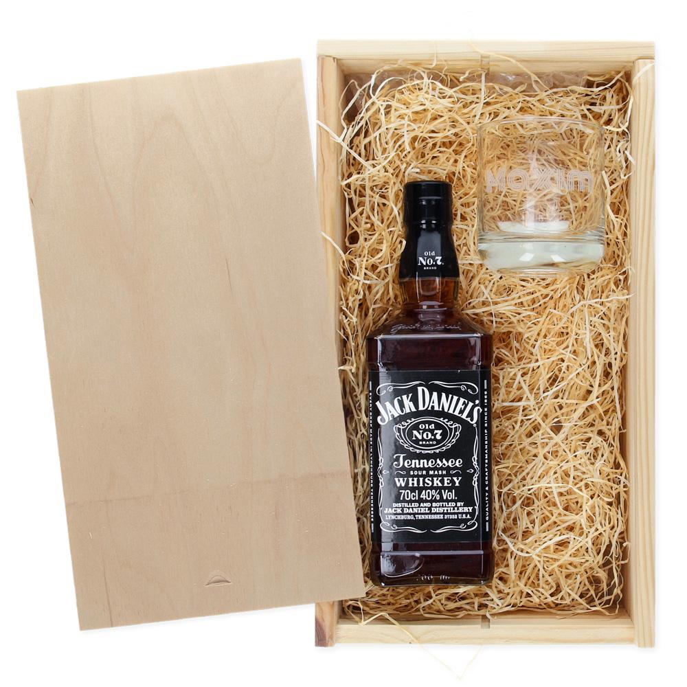 Pakket Jack Daniels Whiskey + glas met naam