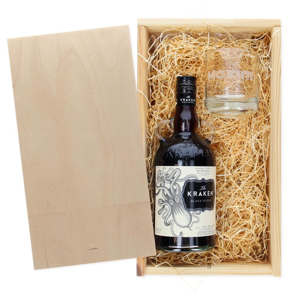 Pakket The Kraken Rum + glas met naam