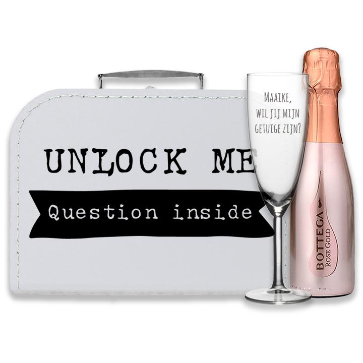 Doosje met een vraag  - Unlock - Wil jij mijn getuige zijn? - bottega rose gold
