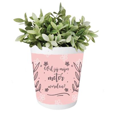 Bloempot - Wil jij mijn meter worden? Roze bloemen