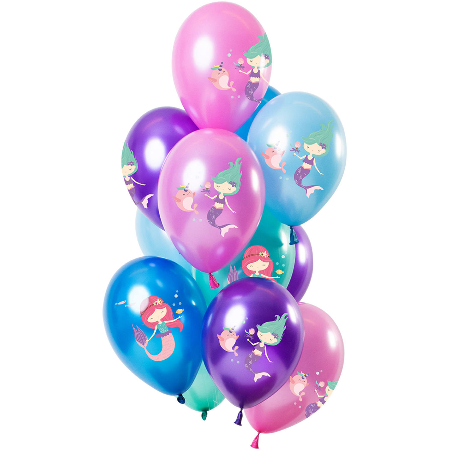 Set de 12 Ballons Sirène Multicolore Metallic - 30cm