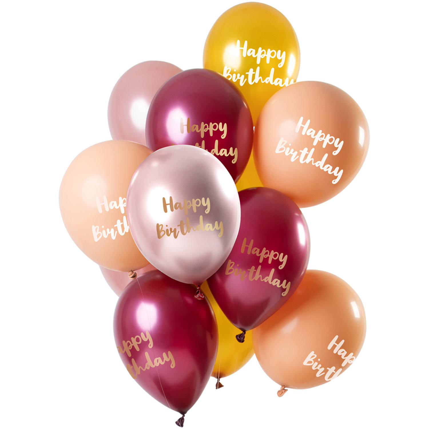 Set de 12 Ballons Happy Birthday Metallic Rose Or - 30cm