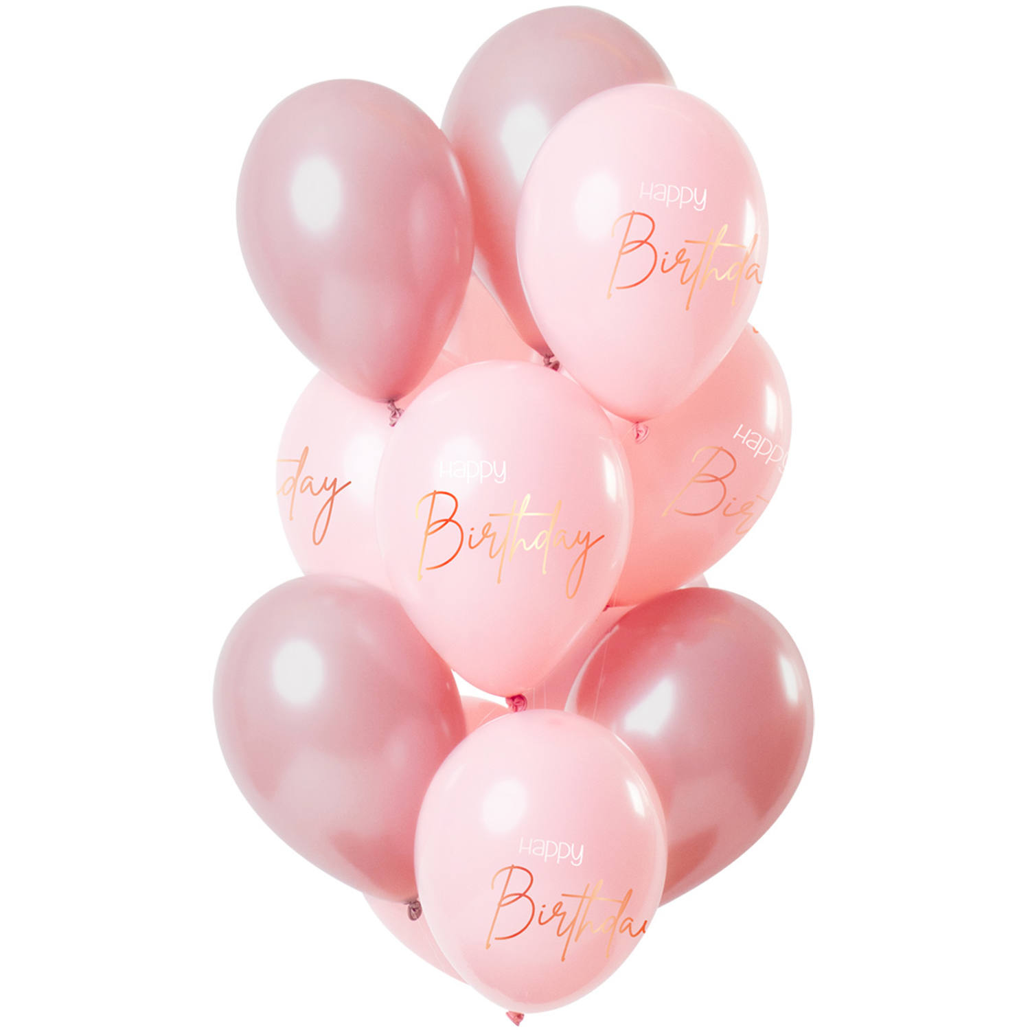 Set de 12 Ballons Happy Birthday Rose - 30cm