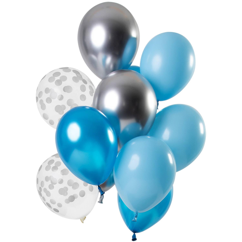 Set Van 12 Ballonnen Blauw Zilver Aquamarine - 30cm
