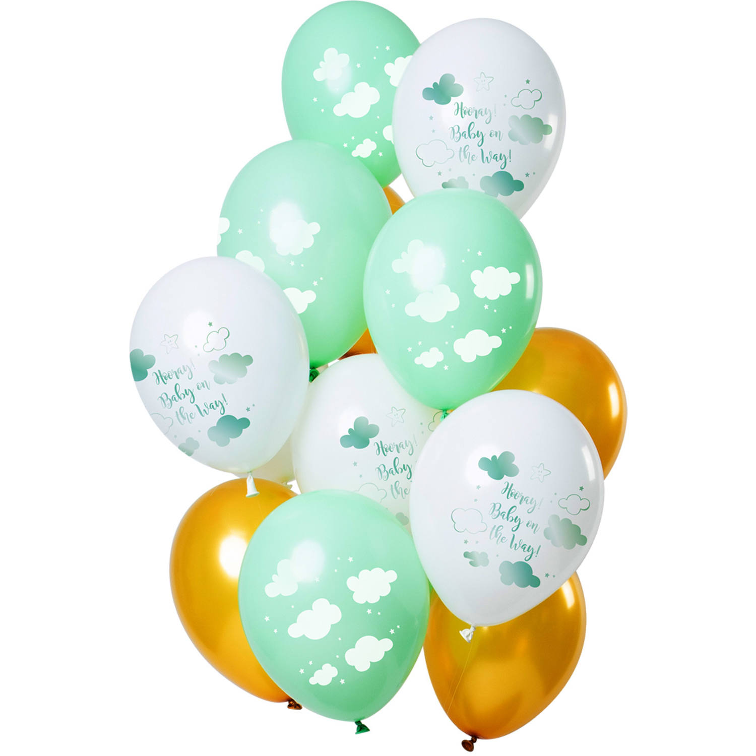 Set Van 12 Ballonnen Baby On The Way Groen Goud - 30cm