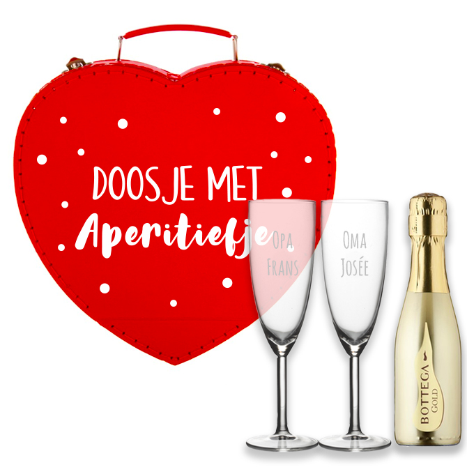 Doosje met aperitiefje met 2 gepersonaliseerde glazen en prosecco